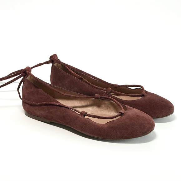 bc8ec72deb4e Madewell Shoes - Madewell Burgundy suede lace up flats size 7